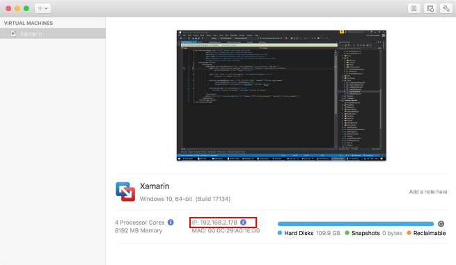 Using Xamarin Live Reload with VMWare Fusion in offline land - Svens